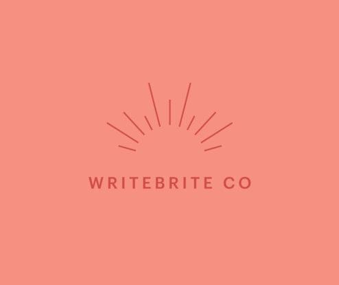 WriteBrite Co logo with line detail
